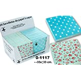 DonRegaloWeb - Display de 24 paquetes con 20 servilletas de papel de triple capa decoradas con puntos y con flores y multiples colores