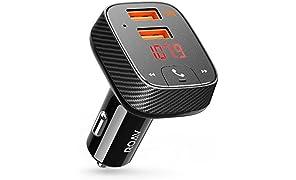 ROAV Kit SmartCharge F2 by Anker, Sistema di Trasmissione Radio Senza Fili, Ricevitore Bluetooth 4.2, Car Locator, Supporto App, Caricabatterie USB con PowerIQ, Uscita AUX e Lettore MP3 Via USB.