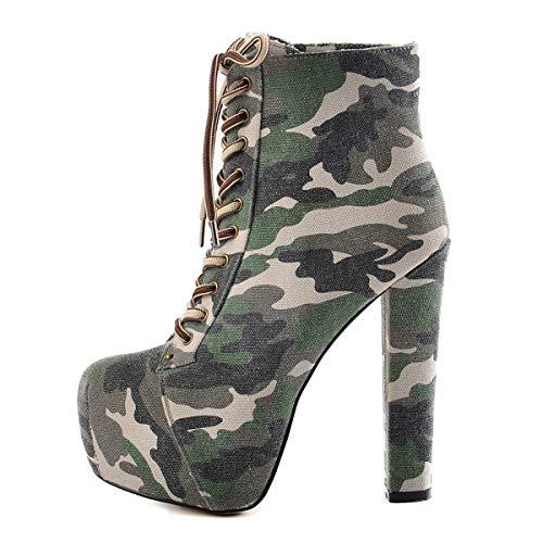 Onlymaker Frauen Plattform High Heel Block Chunky Runde Zehe Schnürstiefeletten Camouflage Größe EU37 -