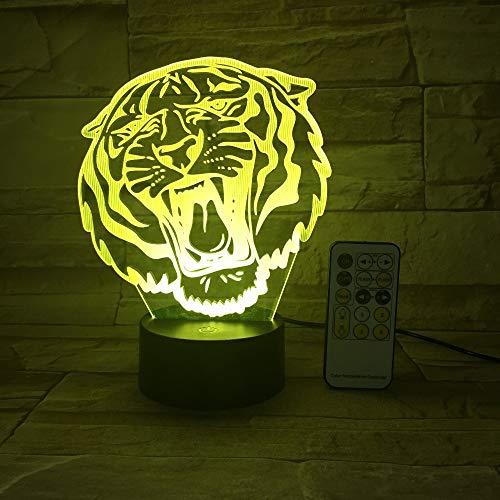 BFMBCHDJ Tier Tiger Kopf 3D Tischlampe LED Nachtlicht 7 Farben ändern für Kinder Touch Bedside Schlafatmosphäre Licht