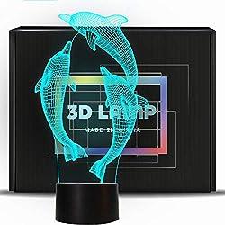 PONLCY novità Illusion 3D Lamps LED Dolphin Night Lights USB 7 Colori Sensor Desk Lamp per i Bambini Regali di Compleanno di Natale Decorazione della casa