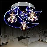 Moderne LED Deckenleuchte im Mond und Sterne Design I Inkl. LED Leuchtmittel I LED Strahler LED Deckenlampe LED Spots Deckenleuchte Wohnzimmerlampe Kronleuchter Lampe Küchenleuchte Schlafzimmerle