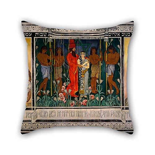 loveloveu Ölgemälde Ephraim Moses Lilien–Ein allegorischen/Skizze für ein Teppich gewidmet Mr. und Mrs. David wolffsohn Triptychon (von Überwurf Kissen 50,8x 50,8cm/50von 50cm