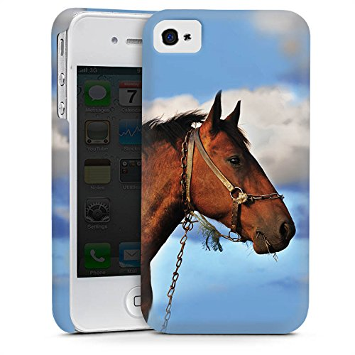 Apple iPhone 4 Housse Étui Silicone Coque Protection Cheval Étalon Jument Cas Premium mat