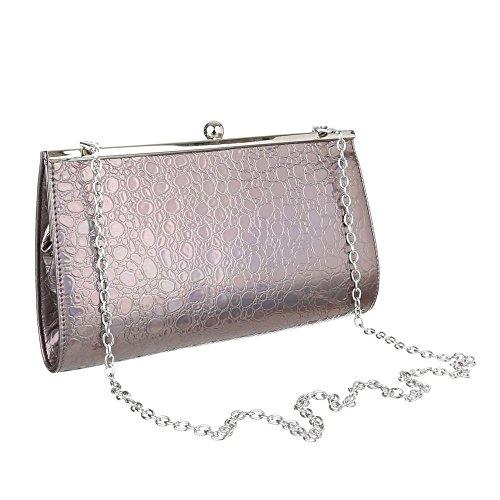 Damen Tasche, Abendtasche, Kleine Clutch, Kunstleder, TA-1560-90 Grau Silber