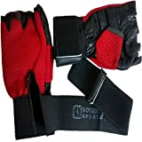 5 O' Clock Sports 2018 Leather Gym Gloves with Wrist Support, Men's Free Size (Red)