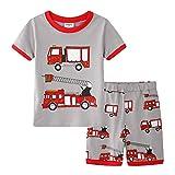 backbuy Jungen Zweiteiliger Kurze Schlafanzug 100% Baumwolle Auto Größe 2-7Jahre (4 Jahre, Rot)