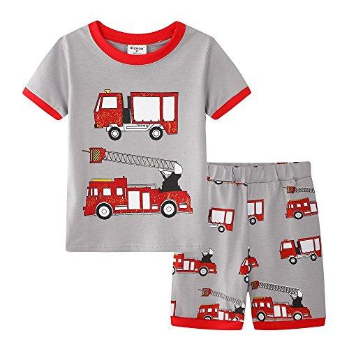 backbuy Jungen Zweiteiliger Kurze Schlafanzug 100% Baumwolle Auto Größe 2-7Jahre (3 Jahre, Rot) (Schlafanzug Jungen Kleinkind)
