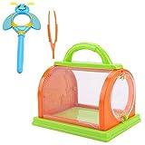 Insektenset zum Insektenfangspielzeug Spielzeug Insektenfänger mit Lupe & Pinzette für Kinder ab 3 Jahren (Orange grün)