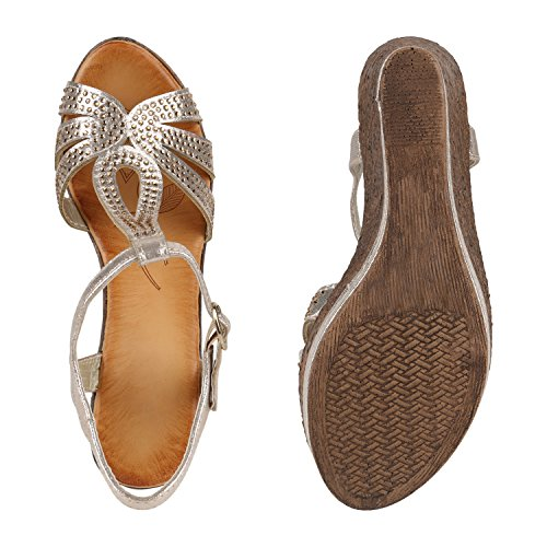 Damen Keilsandaletten Bast Sandaletten Weiße Profilsohle Wedges Gold Strass