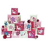 Papierdrachen DIY Adventskalender Kisten Set - Motiv Einhorn - 24 bunte Schachteln zum Aufstellen und zum Befüllen - 24 Boxen
