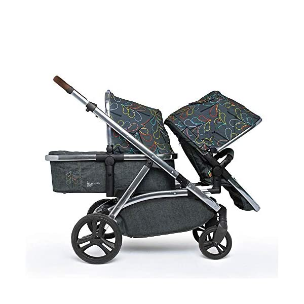 Cosatto Wow XL 3-in-1 Pram and Pushchair, Suitable from Birth - 25 kg, with Tandem Mode and Buggy Board- Nordik Cosatto The flexible family unit, Wow XL has the capability, straight out of the box, to be used as a single child travel system (3-in-1) or as a double/tandem for an older sibling too, with no need to buy any extras (box includes: 1 x Carrycot and 1 x Seat unit) The spacious carrycot is comfy, with extra padded mattress and apron; easy to manoeuvre with one handed pushbutton carrycot release; swap the from-birth carrycot to reversible pushchair seat when they're ready to sit up; the single pushchair mode supports up to 25 kg so your toddler can use it for even longer; with the added ease of one-handed seat unit recline and integrated calf support; the fully extendable hood with visor is 100 UPF and has a peep hole to keep an eye on little ones High-quality craftsmanship; from woven textured fabrics and discoverable details, to gleaming chrome chassis from significant leatherette handle to exquisite embroideries and felt appliques; each design comes with two cuddly travelling companions, straight from Cosatto's famous storytelling pattern; when you explore together, anything can happen 6