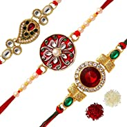 Jaipur Mart Preyans Strand Bracelet Rakhi with Roli Chawal for Men(3 Piece Combo) (RKH125CMB)