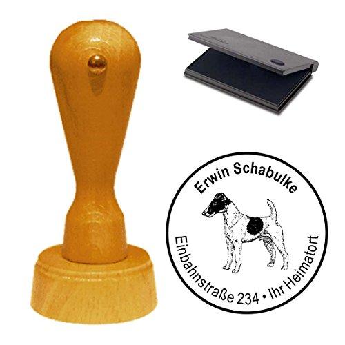 Timbro con cuscino « Fox Terrier » cane animale domestico Smoo Thed