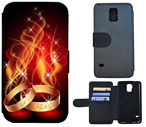 Schutz Hülle Flip Cover Handy Tasche Etui Case für (Apple iPhone 5 / 5s, 1081 Cartoon Tablet Doktor Arzt) 1087 Ring Ringe Feuer Ehe Hochzeit Rot Gold