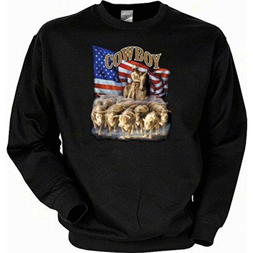 Für Cowboys, Cowgirls und Westernfans: Cowboy Sweatshirt Farbe schwarz, Größe XXL (Cowgirl Sattel)