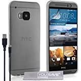 Yousave Accessories HTC One (M9) 2015Hülle Silikon Gel Cover und Micro-USB-Kabel, transparent