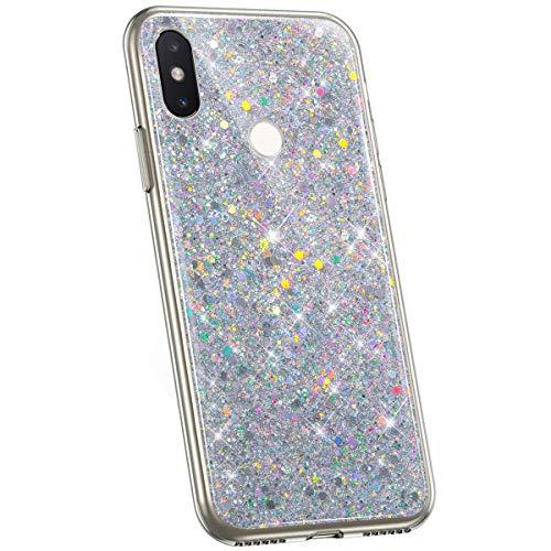 Jinghuash Kompatibel mit Xiaomi MI 8 Hülle Luxus Glitzer Kristall Glänzend Strass Diamant Silikon Schutzhülle Ultra Dünn Crystal Clear TPU Silikon Handyhülle Tasche Case-Silber
