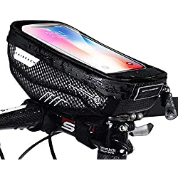 Faireach Support Téléphone Vélo Etanche, Support Smartphone Universel Sacoche Vélo Guidon avec Écran Tactile Transparent, Sacoche Vélo Cadre du VTT Moto Scooter pour Smartphone sous 6,5 Pouce