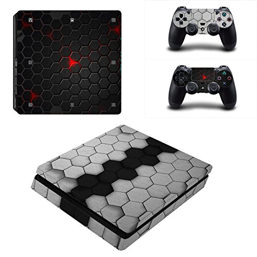 Morbuy Ps4 Slim Skin Consola Design Foils Vinyl Pegatina Sticker And 2 Playstation 4 Slim Dualshock Controlador Skins Set (Black-Grey Comb)