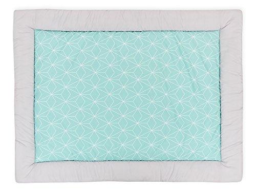 Diamante Decke (KraftKids Krabbeldecke weiße dünne Diamante auf Mint, gepolsterte Babydecke aus hochwertiger Baumwolle in den Maßen 100 x 135 cm)