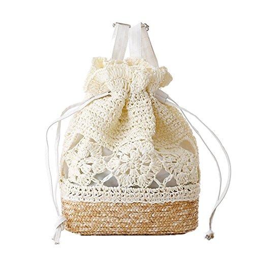 Häkeln Handtasche (FAIRYSAN Häkeln Umhängetaschen Woven Handtasche Straw Rucksack mit Lederriemen Weiß)
