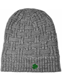 Man of Aran Acrylic Basket Weave Beanie Hat Grey Colour with Green  Embroidered Shamrock a5abc241ed36