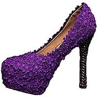 Miyoopark - Scarpe con plateau donna , viola (Purple-14cm Heel), 38