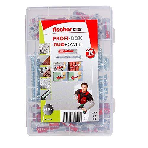Fischer 538622 Profi-Box Duopower und Schrauben, Dübel und Schrauben Set, 160 Teile