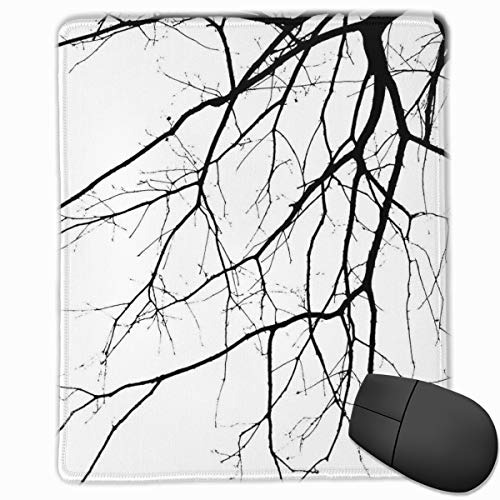 Mouse Mat Stitched Edges, Macro Leafless Winter Tree Branches Idyllic Twigs Of Oak Nature Print,Gaming Mouse Pad Non-Slip Rubber Base -