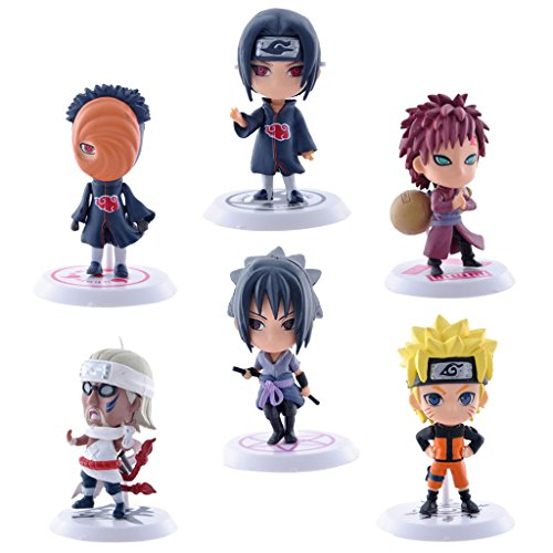 Magideal Pack of 6pcs Anime Naruto 7cm PVC Action Figures #B