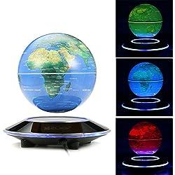 MECO 6'' Globos Terráqueos Flotante de Levitación Magnética LED Luz Azul en el Chasis Cambio de Color Mapa Mundial Giratorio para la Decoración Regalo de Navidad Educación 3 Colores Color Azul