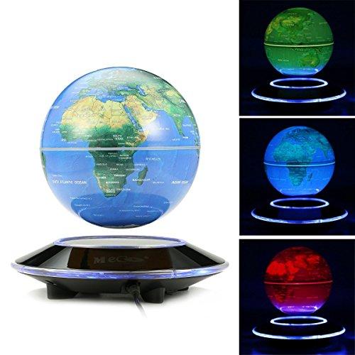 MECO 6'' Globos Terráqueos Flotante de Levitación Magnética LED Luz Azul Cambio Color Mapa Mundial Giratorio para la Decoración Regalo Navidad Año Nuevo Reyes Magos Educación 3 Colores