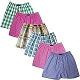 BRUBAKER lot de 6 Boxer-short hommes boxer shorts tissu caleçons en coton - peu froissable - rose et multicolore M