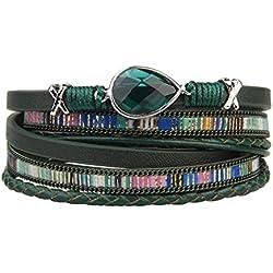 JOYMIAO Superbe Bracelet Wrap Cuir Femme Tressé Manchette Magnétique Boucle Bracelets pour Idee Cadeau Ado Fille (Vert)