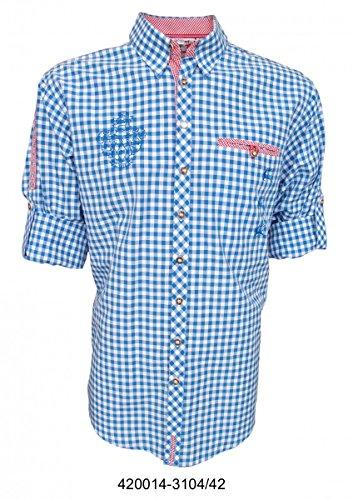 Trachtenhemd für Lederhosen mit Stickerei mittelblau, Hemdgröße:2XL