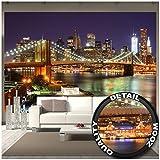 Murale New York décoration de fresque murale du pont de Brooklyn dans la nuit gratte-ciel lumineux à l'horizon décoration du Wall Street USA | murale photo mur deco chez GREAT ART (336 x 238 cm)