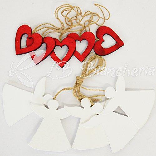Set 40 pezzi addobbi natale in legno per albero di natale e decorazioni - cuori e angioletti