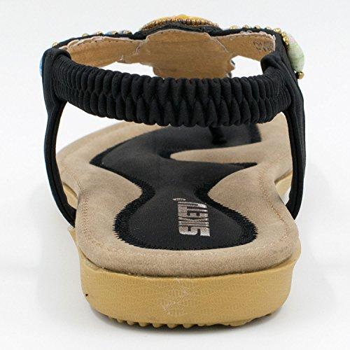 OASAP Damen Boho Rhinestone Verzierung Y-Strap Thong Sandalen Black