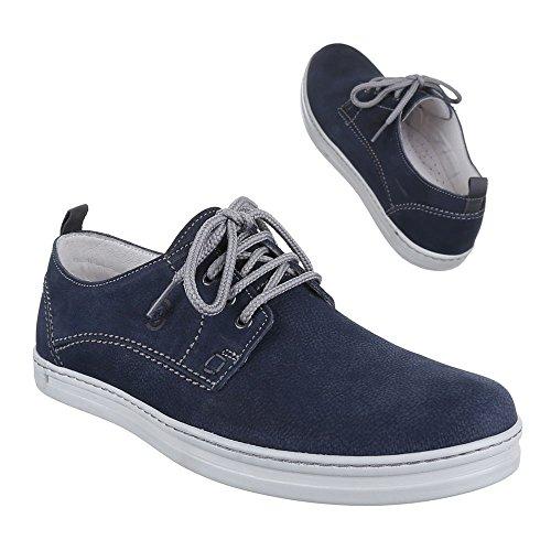 De Homens De Sapatos 9829 Azuis Sapatas Baixa Dos Couro Amarrar Sapatos RFI5qg5