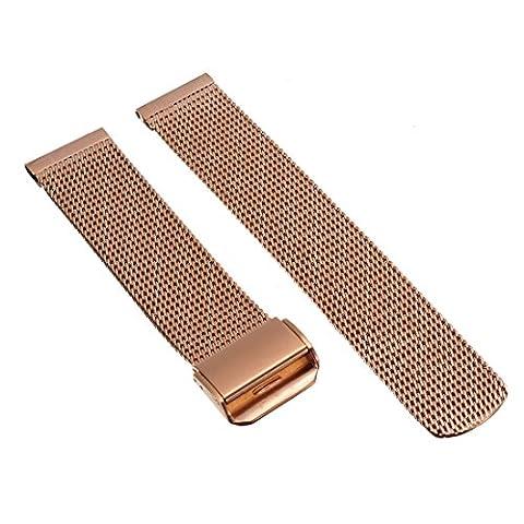 20mm Herren Damen Rosegold Stahl Edelstahl Quarz Wrist Uhren-Armband Uhrenarmbänder Uhrband Watch Band Watch Strap Uhr Unisex mit Sicherheitsfaltschließe Edelstahlschliesse