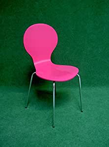 Chaise Moderne assise coque multiplis laqué rose fluo