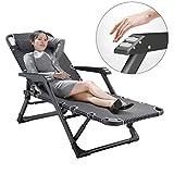 GJY Heavy Duty Zero Gravity Chair Silla de reclinación plegable plegable del salón de la cama que acampa, portátil Chaise reclinable del patio de la calesa para al aire libre, piscina-A