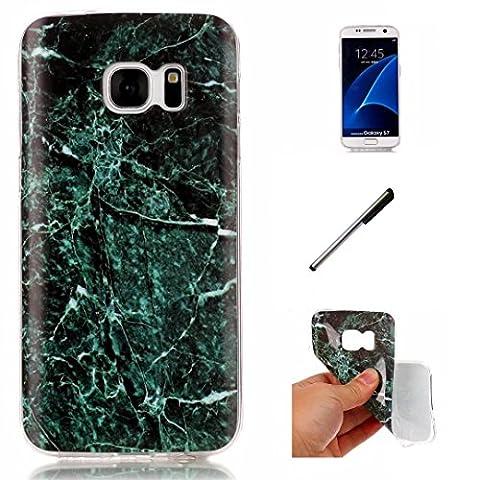 Coque Samsung Galaxy S7.Étui série en marbre DECHYI pour Samsung Galaxy S7. Coquille TPU ultra-mince et transparente en silicone souple. Conçu pour Samsung Galaxy S7 - vert foncé+ Stylus capacitif