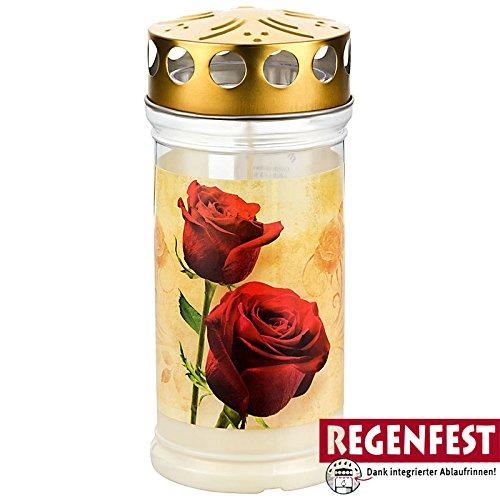 Aeterna Gabkerzen Memoriam mit Deckel und Motiv (Motiv: Rosen (20 Stück)) Kerzen Mit Deckel