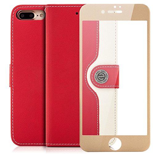 """Saxonia Tasche + Panzerglas iPhone 7 Plus / 8 Plus (5.5"""") Hülle Flip Case Schutzhülle Handytasche mit Kartenfach Standfunktion [3D Vollständige Abdeckung / Panzerglas Full Screen / abgerundet Pink-Wei Rot-Weiß"""