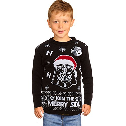 Zoomex_XMAS_JUMPER Xmas Star Wars Kids Boys-Girl Vader Weihnachten Pullover gestrickt Sweater-Black -11-12