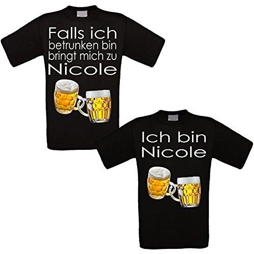 RISEN&LOUD Feiershirt schwarz 2er-Set - Falls ich betrunken Bin (Coole Sprüche T-shirt)