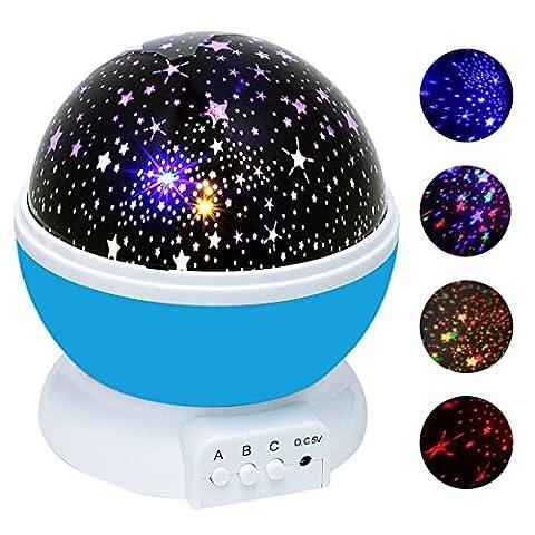 Ciel Étoile Nuit Lumière , Ubegood Lampe éclairage étoile Projecteur de Rotation Projecteur étoile de Lampe Ciel Nuit Etoile Lampe 4 LED Lampe 360 dégrés Rotating Alimenté par Câble USB ou 4 pcs AAA batteries (Bleu)