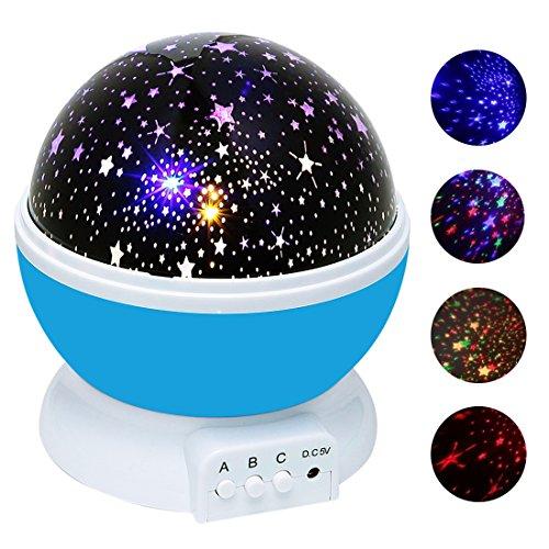Sternenhimmel Projektor, Ubegood 360 Grad drehbar Star Projektor Romantische Nacht Lampe Projektion 4 LED Wulst für Haus, Schlafzimmer, Kinder Zimmer, Hochzeit, Geburtstag, Parteien (Blau)